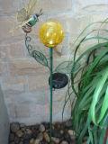 Sonnenenergie-Blumen-Form-Metallgarten-Stock-Fertigkeiten mit Basisrecheneinheit