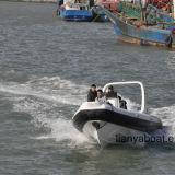 Liya 7.5m Geschwindigkeits-Bewegungsboots-Fiberglas-Rippen-aufblasbarer Boots-Verkauf