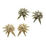 모조 다이아몬드 작은 수정같은 장식 못 귀걸이를 가진 금 또는 앙티크 금 색깔