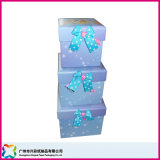 Square caja de embalaje de regalo con lazo lazos (XC-1-063)