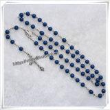 Rosario cattolico del rosario della collana di plastica della traversa (IO-cr240)