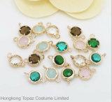 금관 악기 구리 둥근 DIY 형식 보석을%s 금에 의하여 도금되는 모조 다이아몬드 연결관 (7.5*12.5mm의 둘레에)
