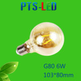 Bulbo del filamento de G80 4W 6W 8W 400-900lm Dimmable LED