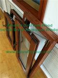 Finestra con hardware incluso, finestra solida placcata di alluminio di inclinazione & di girata di vetratura doppia della stoffa per tendine di legno di quercia con i ciechi all'interno