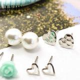 Pendientes del espárrago de la Simular-Perla de la flor del amor del corazón fijados para las mujeres