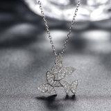 925 echte Zilveren Juwelen Drie de Halsband van de Tegenhanger van Zircon van de Vlinder