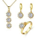 Pendiente plateado oro determinado hermoso del anillo del collar de la dimensión de una variable de la flor del Zircon de Rose de la joyería