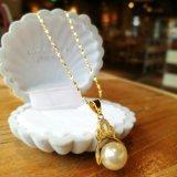 Collar pendiente de la perla de la plata de oro de la corona alrededor de los accesorios cultivados de agua dulce de la joyería del Zircon de la perla de 9-10m m Ture