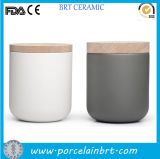 Glazed variopinto Tea Coffee Sugar Ceramic Canister con Bamboo Lid