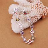 Monili d'acciaio rubanti di modo del braccialetto di fascino del braccialetto di disegno 925 Checkered di pietra variopinti caldi di vendita nuovi