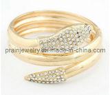 La moda de primavera de la serpiente de oro con Circonita Pulsera Brazalete Pulsera de aleación de Estrás Cordón joyas (PB-079)