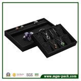 Bandeja de joyas de cuero hechos a mano de lujo de la PU Negro