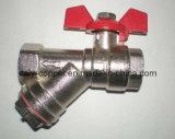 Calidad personalizado latón plateado válvula de bola Filtro en Y (AV1047)