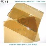 glace r3fléchissante/teintée en bronze en bronze et d'or de 4mm avec du ce et ISO9001 pour le guichet en verre
