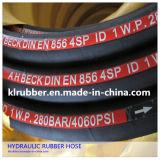 Boyau hydraulique de pétrole en caoutchouc de tresse de fil d'acier à haute limite élastique