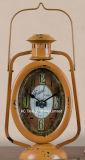 Decoración Vintage de metal de forma de linterna antiguo negro reloj de mesa