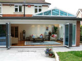 Patio trasero plegado exterior de aluminio puertas Bifold patio externo