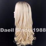 긴 연한 색 여자 머리 가발