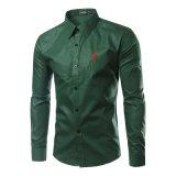 Long chemise de robe brodée par vert fait sur commande d'armée de chemise (A431)