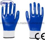 Нитриловые защитные труда с покрытием промышленные рабочие перчатки