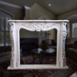 Simples e elegante lareira em mármore branco a Mantel T-2402