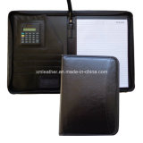 Black de relief Leather Professional Portfolio avec Zip