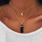 De natuurlijke Halsband van de Manier van de Nauwsluitende halsketting van de Maan van de Steen