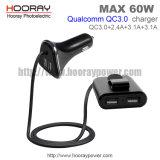 Qualcomm QC3.0 Handy-Auto-Aufladeeinheits-Vorderseite und Rücksitz 4-Ports intelligente IS 60W vier USB-Auto-Aufladeeinheit mit Halter-Kabel für Tablette-Adapter USB-zwei