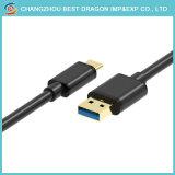O PVC preto 1m 3.0 Tipo C para USB 2um cabo do carregador para telemóvel