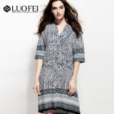 Района Boho Pailsey платье с границы печати для среднего возраста женщин