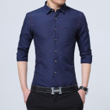 Hemd-langes Hülsen-dünnes Sitz-Hemd-Hemden der beiläufigen Sprung-Qualitäts-Männer der Männer