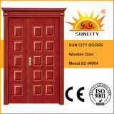 Um e porta de madeira da meia entrada da folha com coroa (SC-W064)