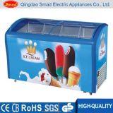 Congelador de vidro curvado comercial da caixa da aplicação do gelado da porta