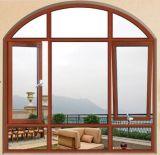 최고 급료 목제 곡물 색깔 활 모양으로 한 최고와 내부 장님 (ACW-020)를 가진 알루미늄 여닫이 창 Windows