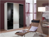 PVC di Ritz Wardrobe Furniture Black High Gloss e White Flowers Sliding Wardrobe