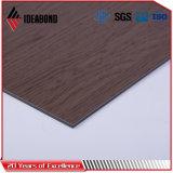 Панель сандвича черного грецкого ореха Ideabond деревянная алюминиевая (AE-303)