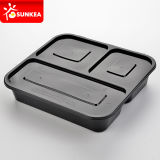 3 Compartments를 가진 처분할 수 있는 Black Plastic Food Container