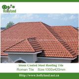 A folha do telhado do metal com pedra revestiu (a telha romana)