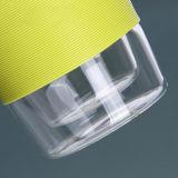 taza colorida de cristal del vidrio de Borosilicate de la taza de café de la pared doble 12oz con la funda del silicón