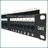 CAT6 Painel de Patch LED UTP de 24 Portas com Keystone Carregado