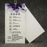 Kundenspezifischer Firmenzeichen-Namen-UVdrucken-Kleid-Schwarz-Pappfall-Marken, Hangtag für Kleidung