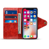X赤いiPhoneのためのレトロPUの携帯電話の札入れの箱