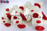 Bobo Plüsch-weißes liegenwelpen-Tierspielzeug mit rotem Ohr-und Inner-Kissen im Großhandelspreis Bos1192