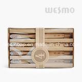 Ensemble de 4 PC avec brosse à dents en bambou carbonisé écologique (WBB0804A)