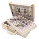 Organizzatore di cuoio tessuto Due-Strato multifunzionale del contenitore di monili con la maniglia