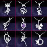 Dubbele Juwelen 925 van het Huwelijk van de Tegenhangers van het Hart Echte Zilveren Halsband