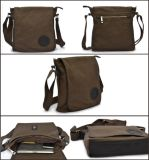Vintage Fashion echtes Leder Canvas Messenger Bag