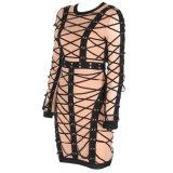 Les nouvelles femmes chaussent voie ligne robe de bandage de maillage à manches longues robes de nuit noire, célébrité