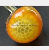Cuillère de jaune de tube de verre de 6.3 pouces modelant le filtre de pipe