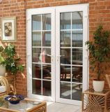 Diseño moderno, patio o balcón Casement de aluminio puerta de cristal con una decoración Grill (ACD-014)